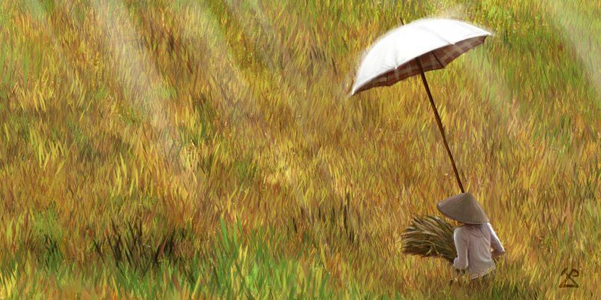 Peinture de Bali : Retour des champs (cadrage n°3)