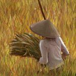 Peinture de Bali : Retour des champs (détail)